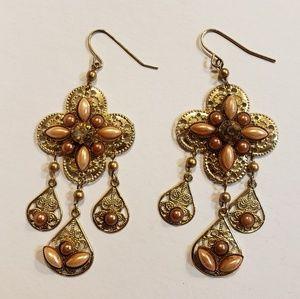 Vtg Filigree Pearl Boho Glam Chandelier Earrings